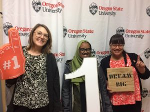 Three female first-generation students at Oregon State University