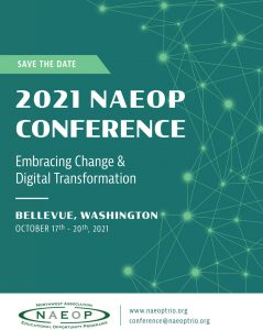 Save the Date flyer with the following text: 2021 NAEOP Conference, Embracing Change & Digital Transformation, Bellevue, WA, Oct. 17-20th, 2021